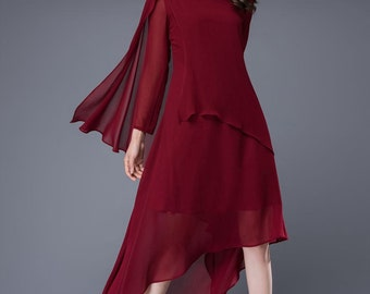 Wine red chiffon dress women's dress C878