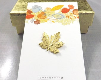 24K Gold Leaf Lapel Pin, Leaf Tie Tack, Leaf Pin, Maple Leaf Brooch, Leaf Pin, Maple Leaf Pin, Mens Tie Pin, Fall Leaves Jewelry, Mens Gift