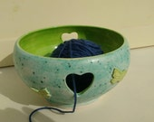 Ready to Ship - Large Pottery Yarn Bowl UK Knitting Bowl Handmade Apple Green Inside Butterfly Embellishment