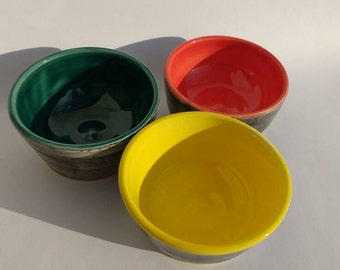 Small Pottery Bowls Set of 3 Handmade Colourful Ceramics Perfect Wedding Gift Idea - Colourful and Bright - Made in UK