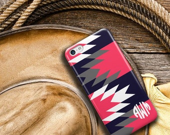 Tribal phone case, Aztec Monogram Bff Gift for women, Fits iPhone 4/4s 5/5s 6/6s 7 8 5c SE X and Plus, Navy gray coral red (1289)