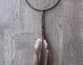 Dream Catcher Chocolate Brown Deerskin with Turkey Feathers