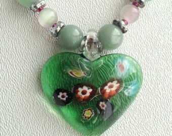 Floating Flower Necklace,3 D Glass Heart,Amazonite and Glass Necklace,Green Heart Glass,Spring Jewelry,Nature Jewelry,LampWork Heart Pendan