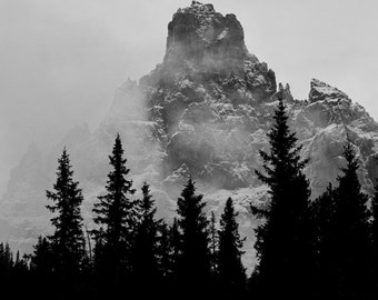 Nature Photography, Mountain Photography, Mountain Clouds, Fine Art Photography, Mountain Photos, Canadian Rockies, Black and White Photo