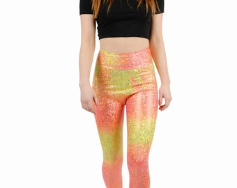 Peach Ombre Disco Mermaid Leggings