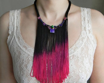 Silk fringe necklace in Pink-Purple-Black, Long fringe necklace, Gift for her, Statement textile necklace with beads and Hand painted paper