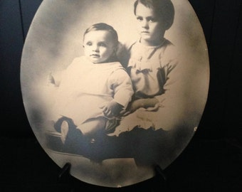 Antique Old 1900s Victorian CONVEX Photograph Black & White Vintage Photography Haunted Halloween Decor Damien Children Baby Boy Portraits
