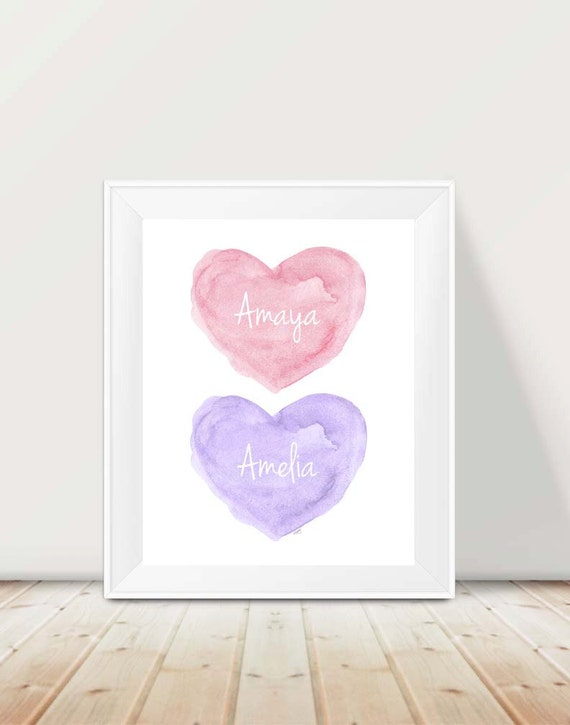 Pink and Purple Sisters Print, 11x14 Personalized
