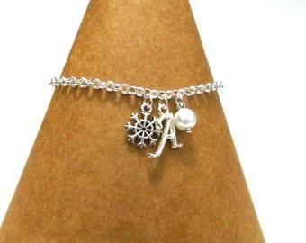 Mini Snowflake Charm Bracelet, Snowflake Bracelet, Flower Girl Gift, Bridesmaid Gift, Flower Girl Bracelets, Winter Wedding