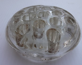 Large Flower Frog heavy Clear Glass, Re-purposed Flower Frog Organizer, Paperweight,Clear