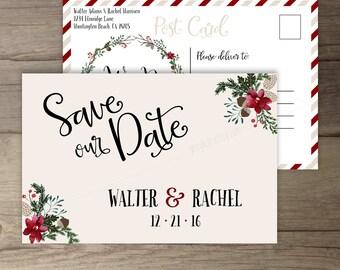Winter Wedding Save the Date Postcard  • Wreath • 'Tis the Season to be Married • Custom Wedding • DIY printable