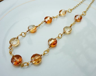 Orange Tangerine Golden Crystal Wire Wrapped Link Necklace