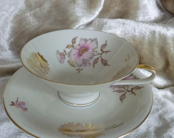 Bavarian Germany Floral Teacup and Saucer Chrysanthemum Gold Porcelain