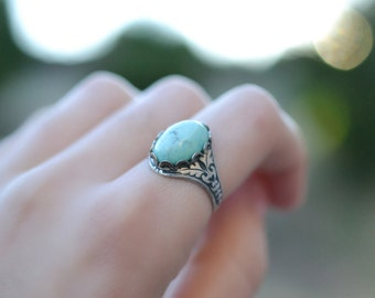 Turquoise Ring, Aqua Ring, Light Turquoise Czech Glass Ring, Turquoise Ring, Boho Ring, Gypsy Jewelry