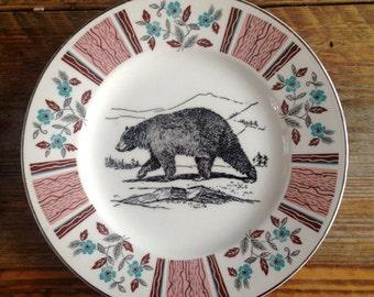Vintage Black Bear Plate Altered Art