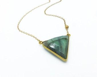 Labradorite Necklace, Labradorite Jewelry, Triangle Labradorite Pendant, Stone Necklace