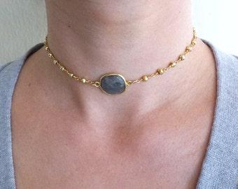 Beaded Choker Necklace, Labradorite Choker, Stone Choker, Labradorite Necklace with Pyrite Beaded Chain