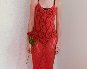 vintage 1980s red lace bodycon dress