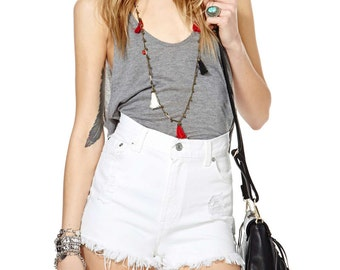 All Sizes Vintage White Levis Distressed Frayed Festival Shorts