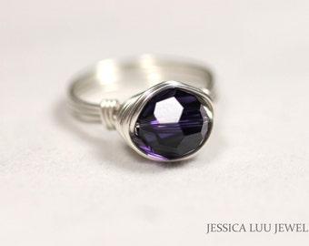 Dark Purple Swarovski Ring Wire Wrapped Jewelry Handmade Sterling Silver Jewelry Handmade Swarovski Crystal Jewelry Dark Purple Ring
