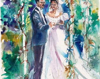 Paper Anniversary, Watercolor Portrait: RESERVED for Emma Custom Wedding Painting for Anniversary Gifts by Kristin Glaze van Lieshout
