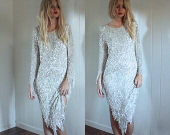 Vintage Stunning White Sequin Silk Dress