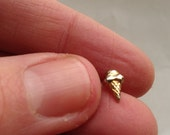 teeny tiny single stud earring gold colored ice cream cone