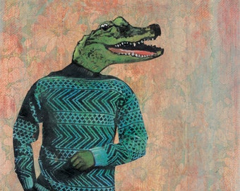 Alligator Man Print | 8x10 Retro Alligator Art | Sweater Crocodile | Unique Florida Housewarming Gift | Unique Vintage Mixed Media Collage