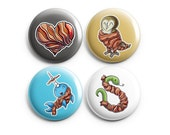 Bacon Lovers Pinback Buttons, Pins, Buttons, Badge, Cute Animal Art, Bacon Heart, Bacon Owl, Bacon Narwhal, Bacon Snake