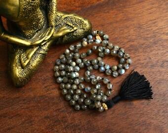 Faceted Labradorite Mala Vermeil Knotted Gemstone Mala Beads Full Mala Mantra Meditation Beads Yoga Jewelry Spiritual Necklace Prayer Beads