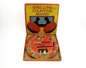 Vintage Spelling and Counting Board With Original Box - 1950s Collectible Toy - Educational Toy - Spelling - Arithmetic