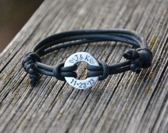 Gift for Men, Mans bracelet, Gift for Him, Stamped Washer Bracelet, Stamped Personalized Jewelry, Black cord bracelet, Cotton Anniversary