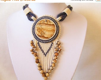 CHRISTMAS SALE Statement Fringe Beadwork Bead Embroidery Necklace with Owyhee Picture Jasper - DESERT Wind - Fall Winter Fashion - Creamy be