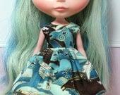 SALE..BLYTHE doll Its my party dress - sea horses