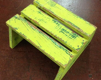 Shabby Rustic Wood Step Stool Distressed Yellow Green