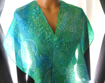 Sea Turtle Silk Scarf. Hand Dyed Soft Green & Turquoise Scarf. Hand Painted Aqua Mosaic Turtles. 11x60 inch Marine Green Habotai Silk Scarf.