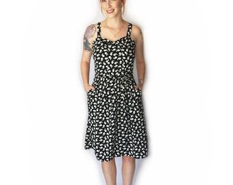 Sale, Bunnies black dress for women, Black summer dress, Dress with pockets, fitted dress, party dress, midi dress, Sundress