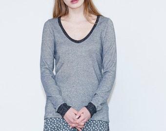 Grey knit blouse, Long sleeve grey shirt, Winter sparkly shirt, Autumn shirt, Fall blouse, Fall top