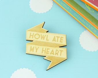 Studio Ghibli Brooch. Howl Ate My Heart. Howls Moving Castle. Totoro. Wooden Brooch. Ghibli Jewellery. Brooch. Pin. Badge. Button. Anime