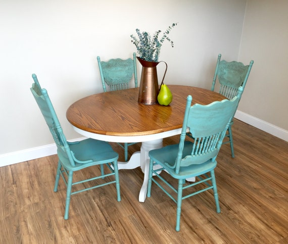 White dining room set teal chairs round table set country for Teal dining room table