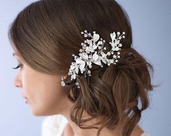 Floral Bridal Hair Clip, Rhinestone Bridal Hair Clip,Bridal Hair Accessory, Silver Wedding Hair Clip, Wedding Accessories ~TC-2245