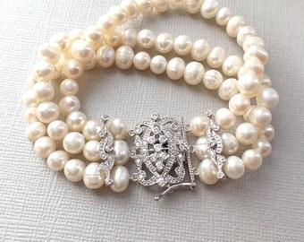 Freshwater Pearl Bracelet, Vintage Pearl Bracelet, Pearl Bridal Jewelry, Pearl Wedding Jewelry, Pearl Jewelry, Bridal Accessory ~JB-4817