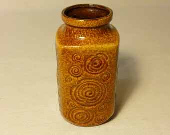 Vintage Scheurich Keramik Vase 282 -20 Swirl Rosette Fossil Pattern Brown and Amber Speckled Gloss Glaze West German Pottery Planter