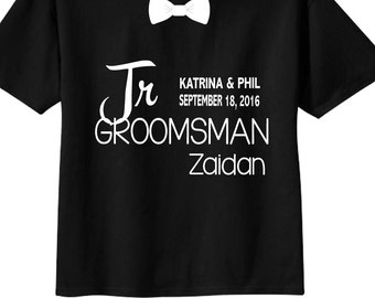 Junior Groomsman Shirts with Dates and Bowtie for Wedding Party Tees on BLACK Shirts