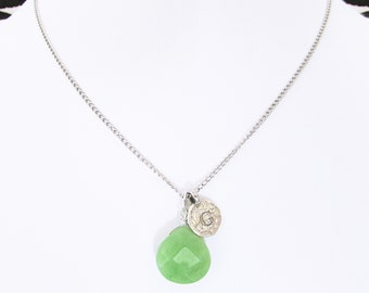 Letter G necklace, silver G initial choker necklace with jade birthstone, personalized letter G jade stone jewelry, girlfriend birthday gift