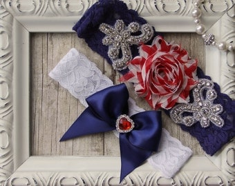 Customizable Wedding Garter Set, Bridal Garter Set - Lace Garter, Keepsake Garter, Toss Garter, Shabby Chiffon Ivory, 4th of July Garter Set