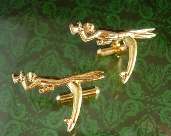 Fred Astaire Cufflinks Vintage  Dancer entertainer top hat & tails Wedding Ball Room dance choreographer Broadway musical gold mens jewelry