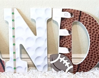 Boy Nursery Wall Letters, Sports Room Decor,Baseball Football Basketball, Sports Themed Baby Shower, Wooden Letters for Boy