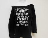 Harry Potter Christmas Sweatshirt, Merry Christmas Ya Filthy Muggle, Off Shoulder Lightweight Shirt, Muggle Sweater, Ugly Christmas Sweater