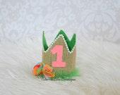 Burlap Luau Hawaii Birthday Crown. First Birthday Cake Smash photo prop Hawaiian Aloha